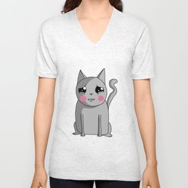 Cat with the Sad Eyes Unisex V-Neck