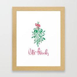 Let's French Mistletoe Framed Art Print