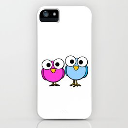 Pink and blue googly eyed birds cartoon iPhone Case