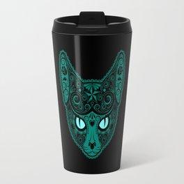 Blue Day of the Dead Sugar Skull Cat Travel Mug