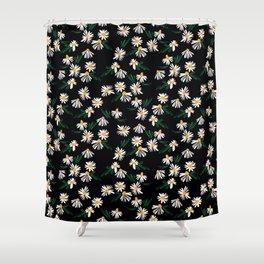 Chamomile Flowers on Black Shower Curtain