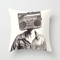 radio Throw Pillows featuring Radio-Head by KatePowellArt