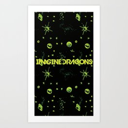 Imagine . Dragons lime green universe  Art Print