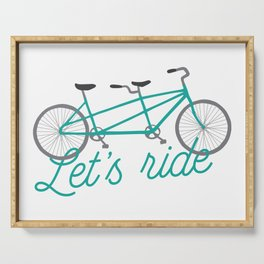 Let's Ride Tandem Bicycle - Teal Serving Tray