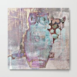 The Owl and the Calico Cat Metal Print