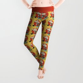 The Cat and the Cat Song (red) Leggings