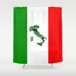 Map of Italy and Italian Flag Shower Curtain