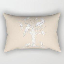beige tree with birds Rectangular Pillow