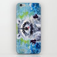 raccoon iPhone & iPod Skins featuring Raccoon by Alina Rubanenko