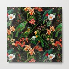 Vintage & Shabby Chic - Midnight Tropical Garden Metal Print