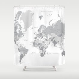 "Gray world map with cities, states and capitals, ""in the city"" Shower Curtain"