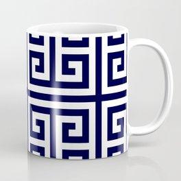Greek Key Patten White And Navy Blue Coffee Mug