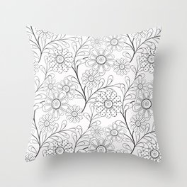 Floral pattern on a white background. Throw Pillow