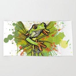 Red-eyed tree frog Beach Towel