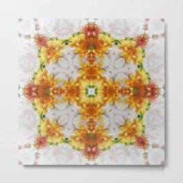 Gold Chrysanthemum Kaleidoscope Art 1 Metal Print