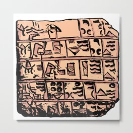old Sumerian plate with cuneiform Metal Print