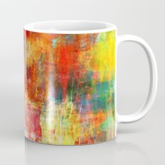 AUTUMN HARVEST - Fall Colorful Abstract Textural Painting Warm Red Orange Yellow Green Thanksgiving Mug