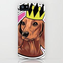 Brown dachshund queen iPhone Case