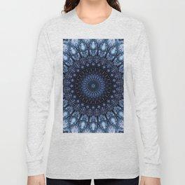 Dark and light blue mandala Long Sleeve T-shirt