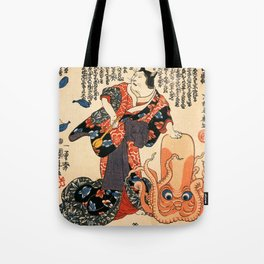 A Cat dressed as a Woman tapping the Head of an Octopus by Utagawa Kuniyoshi Tote Bag