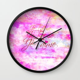 JE T'AIME French Typography Font I Love You Romantic Fine Art Pastel Pink Colorful Abstract Painting Wall Clock