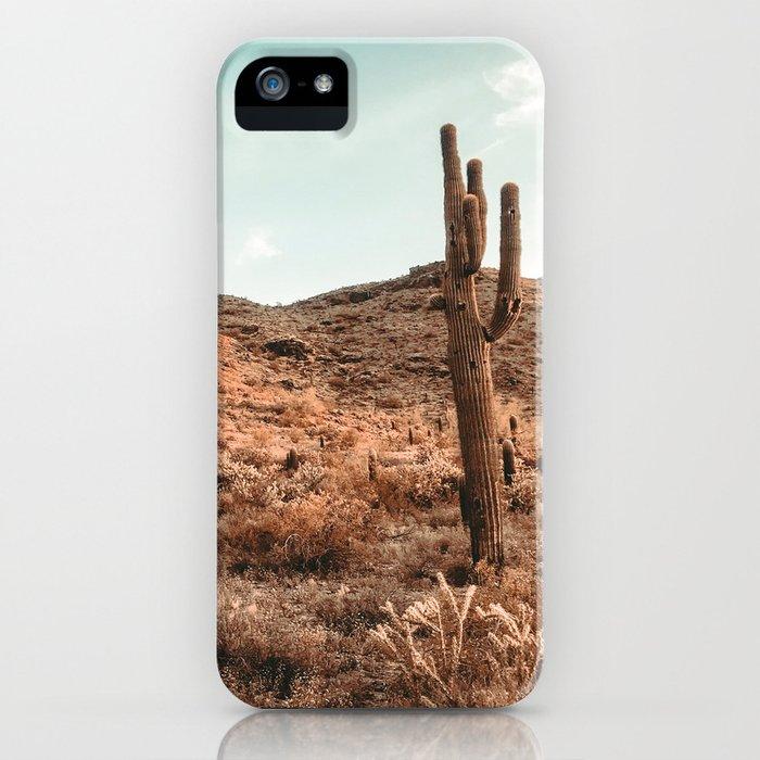 Saguaro Mountain // Vintage Desert Landscape Cactus Photography Teal Blue Sky Southwestern Style iPhone Case