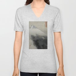Dragon Rising to the Heavens at Mount Fuji by Ogata Gekko Unisex V-Neck