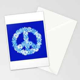 Peace Sign Floral Blue Stationery Cards