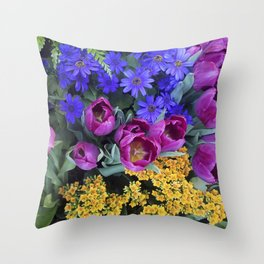 Floral Spectacular: Blue, Plum and Gold - Olbrich Botanical Gardens Spring Flower Show, Madison, WI Throw Pillow