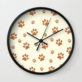 Muddy Puppy Paw Prints Wall Clock