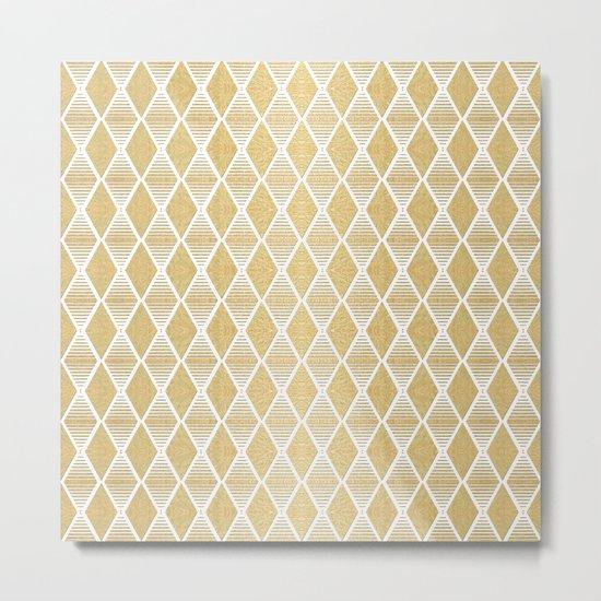 White and Gold Geometric Pattern Metal Print
