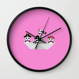 Panda Pirates Paperboat Crew  T-Shirt D6lca Wall Clock