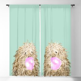 Puli Dog with Bubble Gum in Green Blackout Curtain