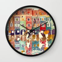 takmaj Wall Clocks featuring Evening in Poznań by takmaj