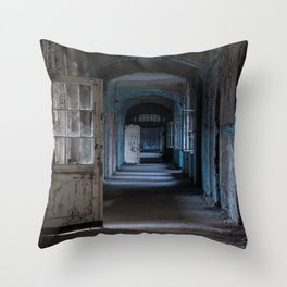 Blues, abandoned hospital Throw Pillow