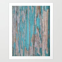 Rustic turquoise weathered wood shabby style Art Print