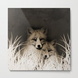 Fox and love Metal Print
