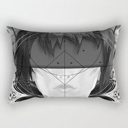 Beautiful Fractal Feathers for Major Motoko in Black and White Rectangular Pillow