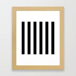 Simply Vertical Stripes in Midnight Black Framed Art Print