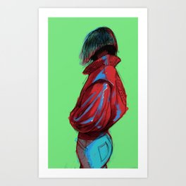 Girl in a Red Jacket Art Print