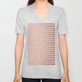Abstract Stripes Gold Coral Light Pink Unisex V-Neck
