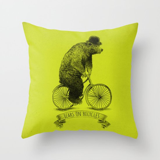 Bears on Bicycles (Lime) Throw Pillow