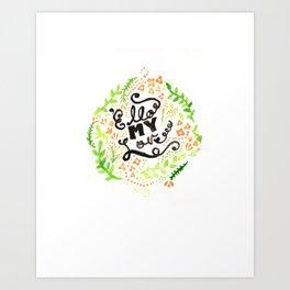 'Ello My Love Typography Watercolour Print Art Print
