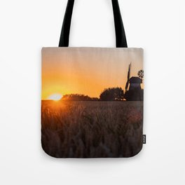 North German windmill from old time in the sunset Tote Bag