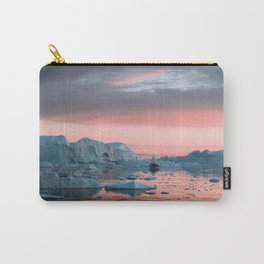Boat in front of arctic icebergs during sunset Carry-All Pouch