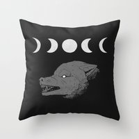 moon phase Throw Pillows featuring Just a Phase by Natte