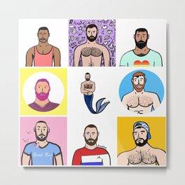 Beard Boy: Rainbow Boys 1 Metal Print