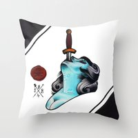 sword Throw Pillows featuring Sword Swallower by S.B.H tattoo