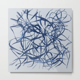 blue lines. card with messy blue lines on a white background Metal Print
