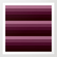 burgundy Art Prints featuring burgundy stripes by Simply Chic